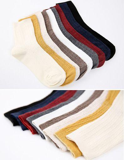 StyleOnme_No. 35545 #socks #plainsocks