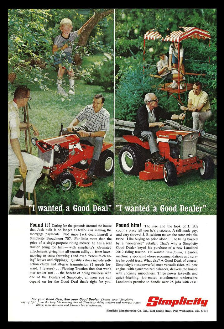 Simplicity Broadmoor 007 Tractor Riding Lawn Mower Collectible Vintage 1967 AD