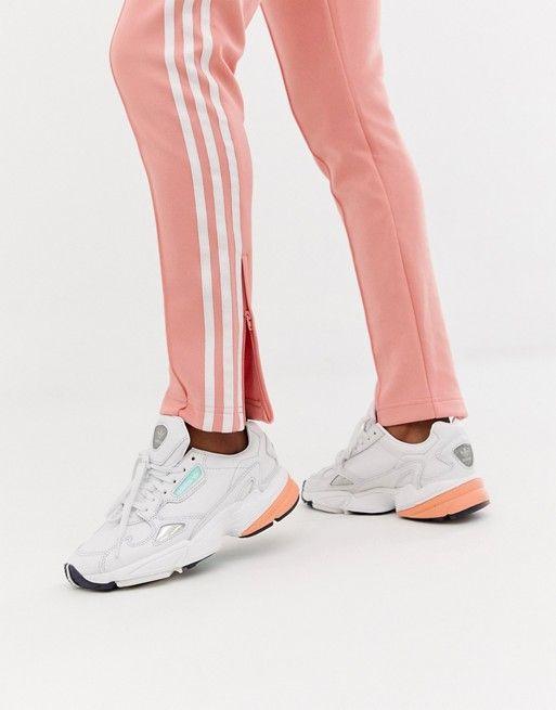 28a219e16 adidas Originals Falcon Premium Leather Sneakers In White in 2019 ...