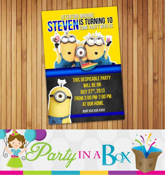 Despicable Me Minions Birthday Invitation DIY Printable Digital File