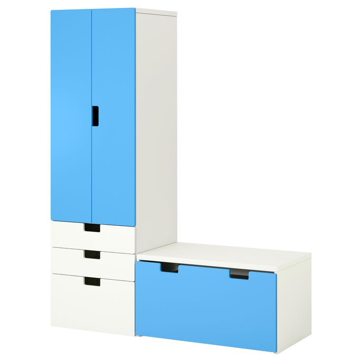 STUVA Storage combination with bench - white/blue - IKEA
