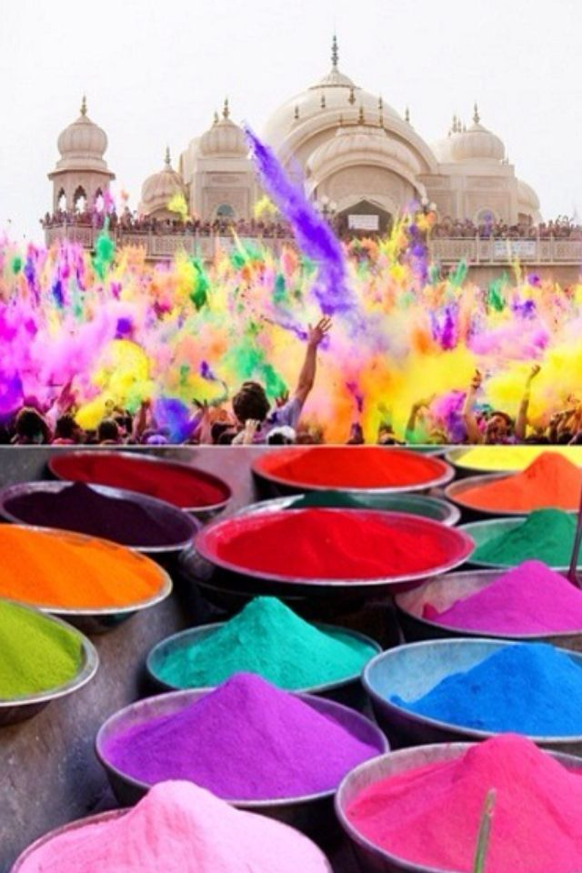 Holi Powder used at India's Holi Festival is available at Indian Markets for purchase.  Cool twist to a kids' obstacle race: dust the teeny contestant with a different color after completing each challenge.