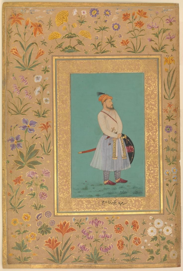 """""""Portrait of Qilich Khan Turani"""", Folio from the Shah Jahan Album Artist: Painting by La'lchand Calligrapher: Mir 'Ali Haravi (d. ca. 1550) Object Name: Album leaf Date: recto: ca. 1640; verso: ca. 1530–50 Geography: India"""
