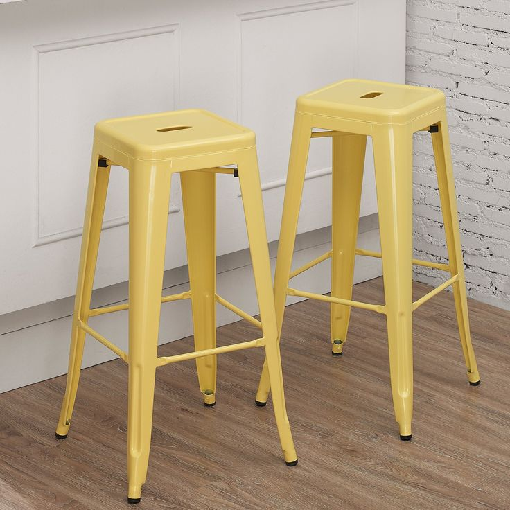 Tabouret 30 Inch Canary Bar Stool Set Of 2 Yellow