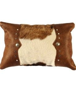 Cowhide and Leather Pillow with Studs