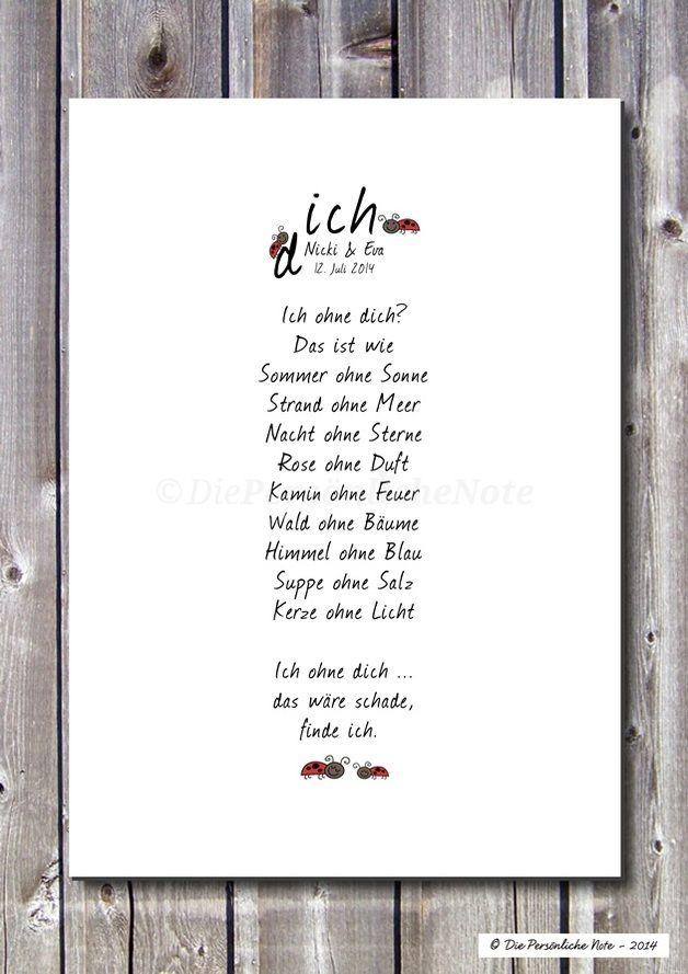 Ich ohne dich? Das ist wie Sommer ohne Sonne, Strand ohne Meer, ... - Druck/Wandbild/Print: Für Freunde und Verliebte