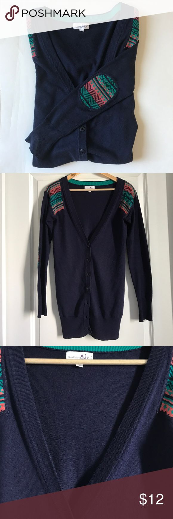 Long navy cardigan Tribal pattern long soft cardigan. Used in a good condition. Shrinking Violet Sweaters Cardigans
