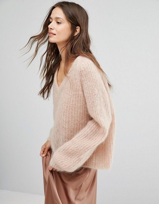 Gestuz mohair light pink nude cozy knit jumper
