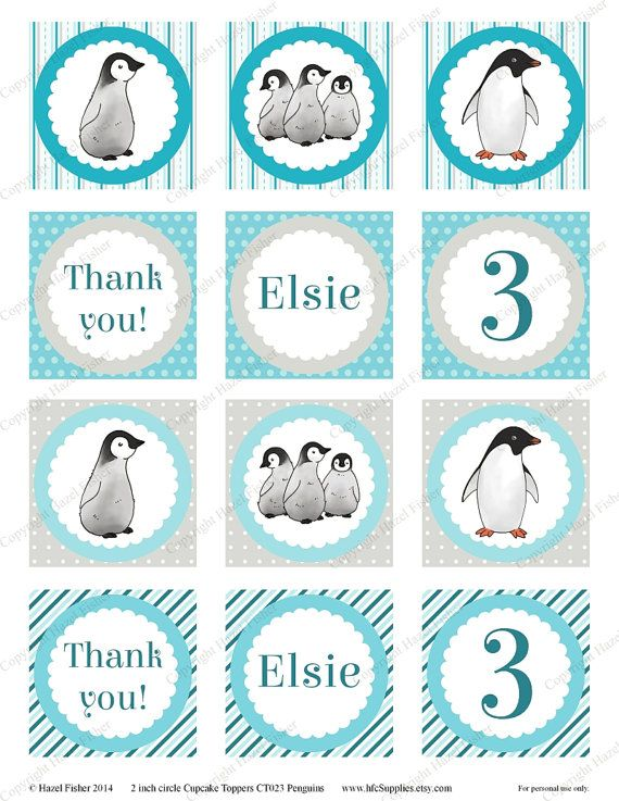 Penguins cupcake toppers   customised printable party circle / favor tags by hfcSupplies