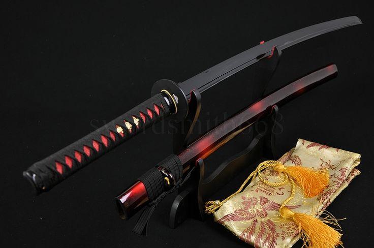 FULL BLACK STEEL FULL TANG BLADE HANDMADE Japanese SAMURAI KATANA SWORD