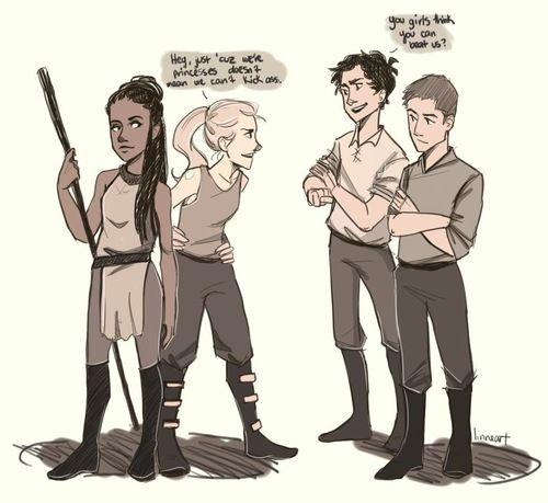 Celaena, Dorian, Chaol and Nehemia