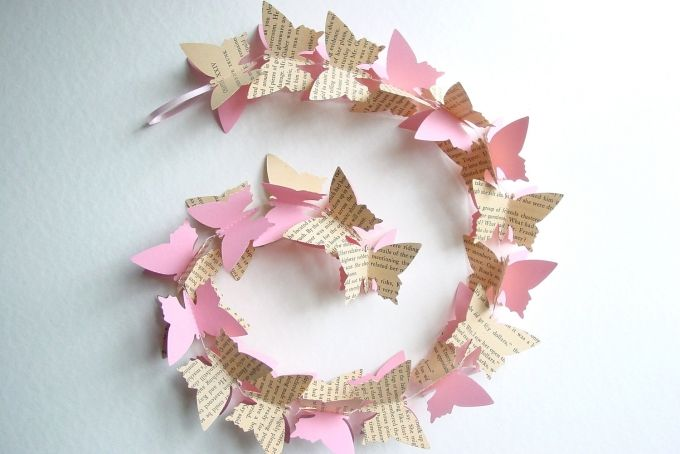3D Butterfly Garland -Pink & Upcycled Novel by younghearts on hellopretty.co.za