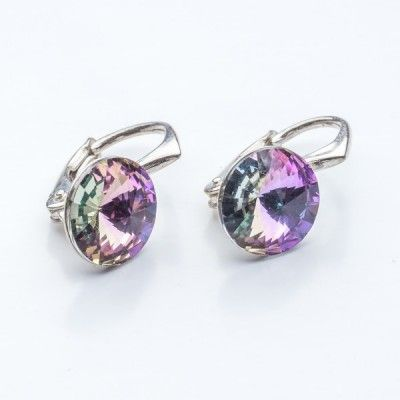 Swarovski Rivoli Earrings 8mm Vitrail Light  Dimensions: length: 1,7cm stone size: 8mm Weight ~ 1,85g ( 1 pair ) Metal : sterling silver ( AG-925) Stones: Swarovski Elements 1122 SS39 Colour: Vitrail Light 1 package = 1 pair