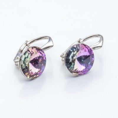 Swarovski Rivoli Earrings 8mm Vitrail Light  Dimensions: length: 1,7cm stone size: 8mm Weight ~ 1,85g ( 1 pair ) Metal : sterling silver ( AG-925) Stones: Swarovski Elements 1122 SS39 Colour: Vitrail Light 1 package = 1 pair
