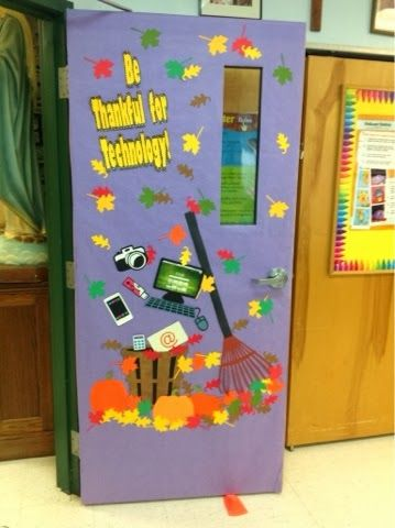 Fall themed computer lab door  It's really hard to come up with a seasonal door combined with a technology theme!! A bushel of technology, r...