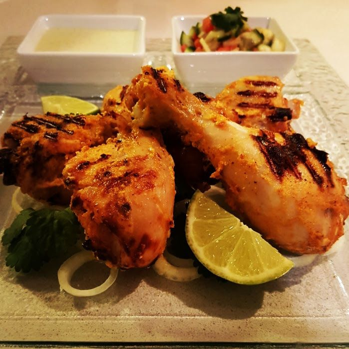 Tandoori Chicken Drumsticks with Kachumber Salad and Mint & Coriander Yogurt Chutney