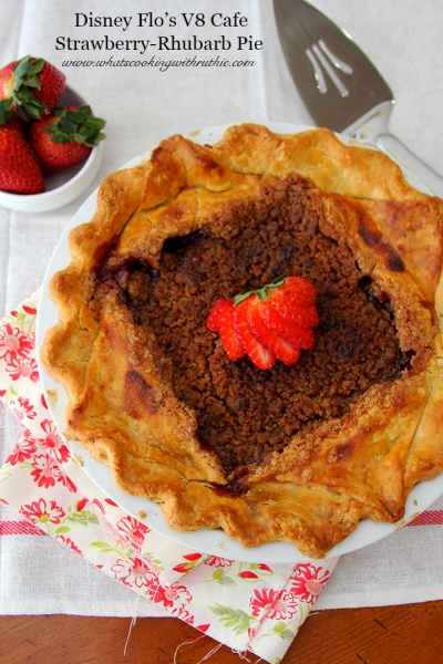 Disney's Flo's V8 Cafe Strawberry-Rhubarb Pie was given to me by Disney for use and it is AMAZING!  Best pie you'll ever taste! @whatscookingwithruthie.com #recipes #desserts #disney