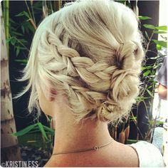 follow link for tutorial. PS: to get the look in the picture above dutch braid those 4 sections and then wrap around your three buns. You'll need to part the hair a little behind the ears instead of in front.