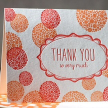 thank you bubbles smock: Letterpresses Cards, Bamboo Paper, Letterpresses Note, Graphics Design, Cards Graphics, Bubbles Letterpresses, Note Cards, Invitations Inspiration, Inspiration Cards