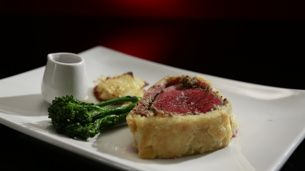 Beef Wellington with Potato Gratin and Red Wine Sauce