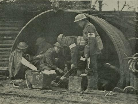 A 79th Division aid station in the Bois de Consenvoye on November 8, 1918.