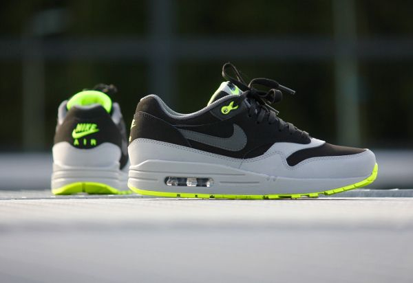 Nike Air Max 1 Leather Black Grey Volt | Chaussure basket