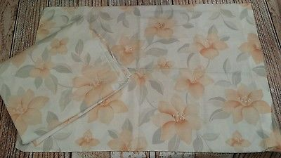 Vtg Tropical Peach Day Lilly Gray Floral Twin Fitted Sheet & Standard Pillowcase