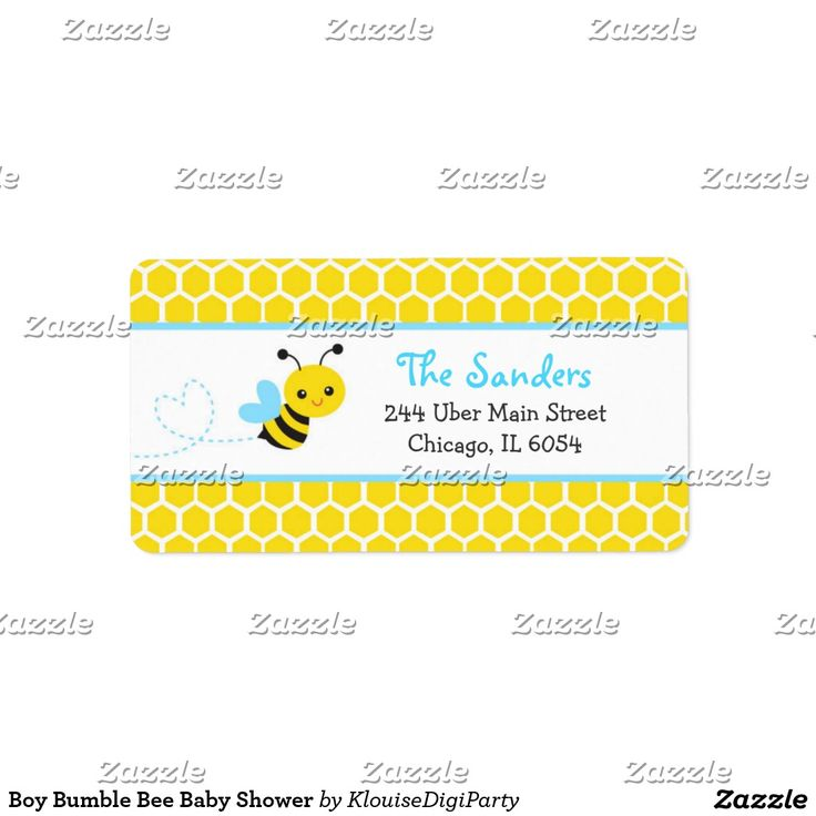 Boy Bumble Bee Baby Shower Label