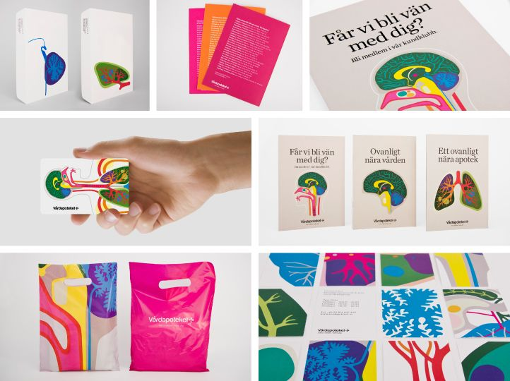 Identity for a Swedish pharmacy chain by Stockholm Design Lab. Fun and vibrant. #design #identity