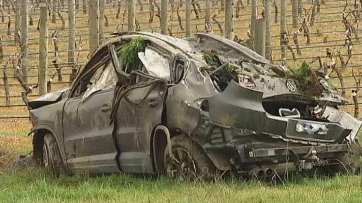 Crashed car at Yarra Glen