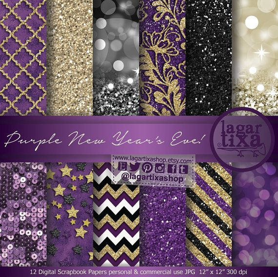 Gold Purple Black New Year's Eve Digital Paper Blog background for Invitations Elegant event chevron glitter gold foil bokeh gift tags