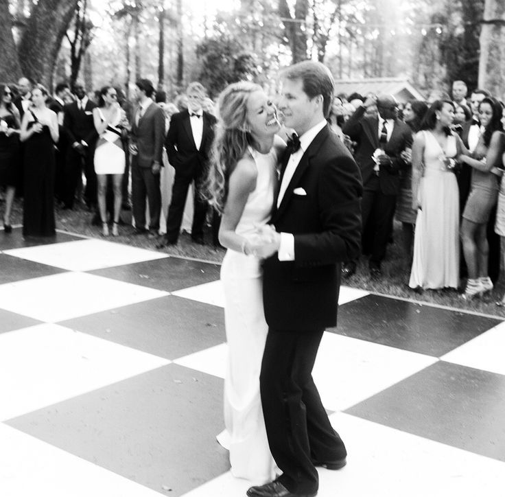 bride and groom dancing at outdoor wedding reception on checkered floor, Cameran Eubanks and Jason Wimberly