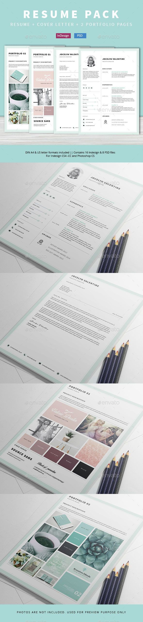 4 Pieces Resume Creative Resume TemplatesSimple