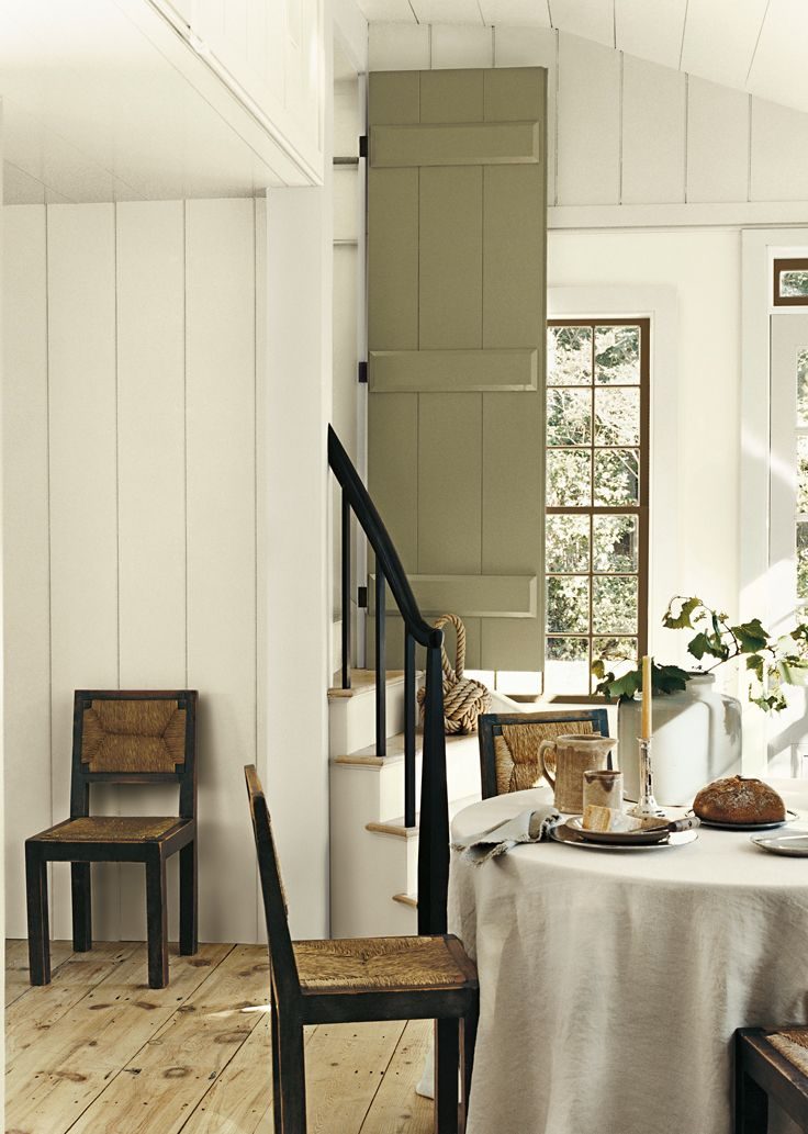 Soft, Neutral Colors For A Casual Dining Room. Ralph Lauren Paint Plaster  White And