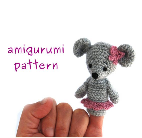 USD 4.55 mouse finger puppet pattern, #crochet mouse #puppet, amigurumi mouse, gift for toddler, #howto crochet mouse, ballerina mouse puppet