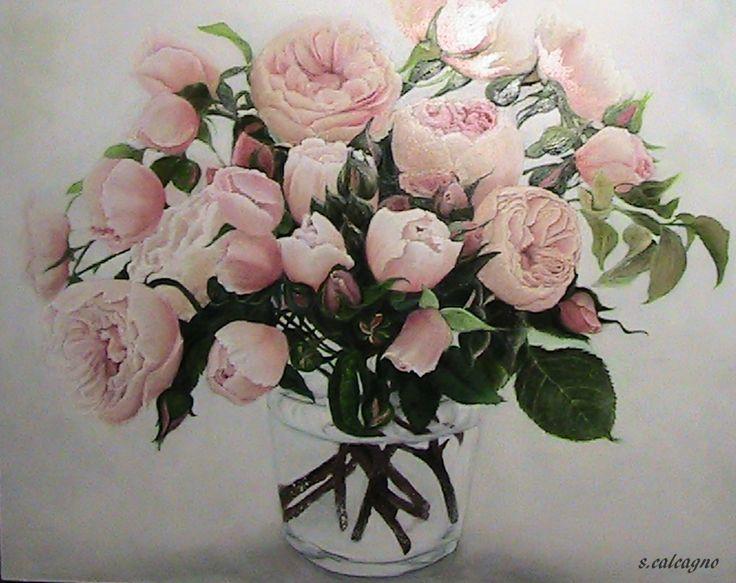 Natura Morta. Vaso di Rose Antiche su Fondo Chiaro. Olio su tavola. 50 x 40 cm, di Sara Calcagno