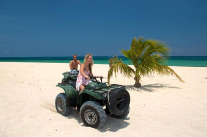 Cozumel ATV Tour  Have a fun time in Cozumel on an ATV tour at Mr. Sancho's Beach Club. This is a great experience that will take you through the tropical jungle on rocky roads and the white sand of the beaches, while admiring Cozumel's natural wonders and it's amazing turquoise sea. Let the adrenaline flow throughout your body on this unique tour.Enjoy one of the most popular activities in Cozumel, riding an ATV. Your ATV tour at Mr. Sanchos Beach Club offers solo or double s...