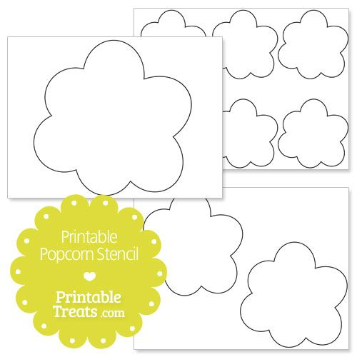 Printable Popcorn Stencil Teaching Pinterest