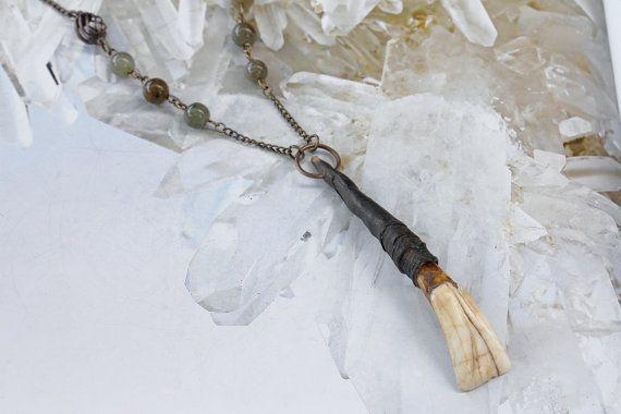 Forest Spirit  Horn Tooth & Labradorite by VioletSerpentine