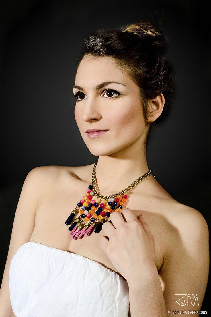 Gargantilla Sahira, diseñada por Zurda. Modelo: Sara Belmonte. #Zurda #collar #necklace #bisutería #bijou #diseño #design #African #SS14