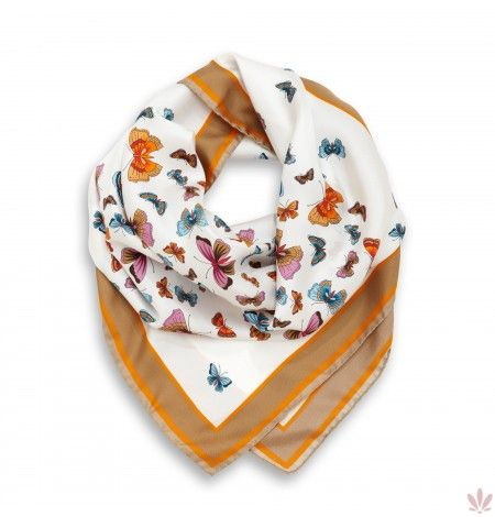 Butterfly Summer Dream Square Orange White Scarf. Luxury high quality made in Italy Fulards