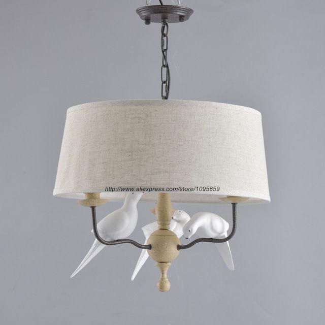 Современный деревенском стиле 3 руки белые птицы хрустальная люстра свет лампы столовая потолочных…