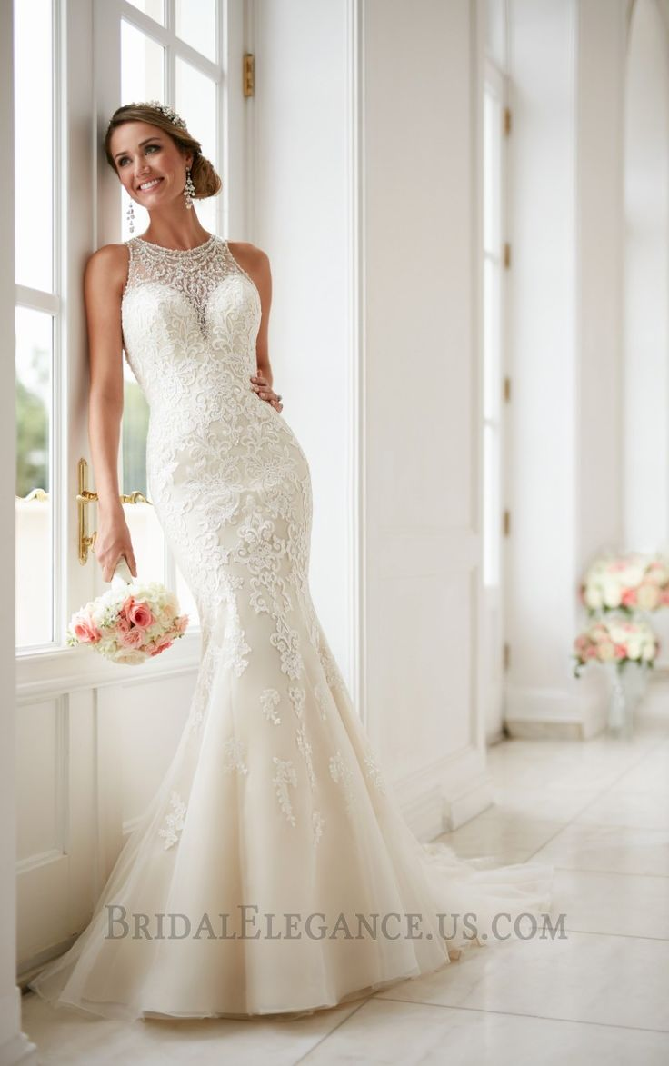 Elegant High Neck Slim Flare Wedding Dress With Diamante Beading Browse Our Entire Gown