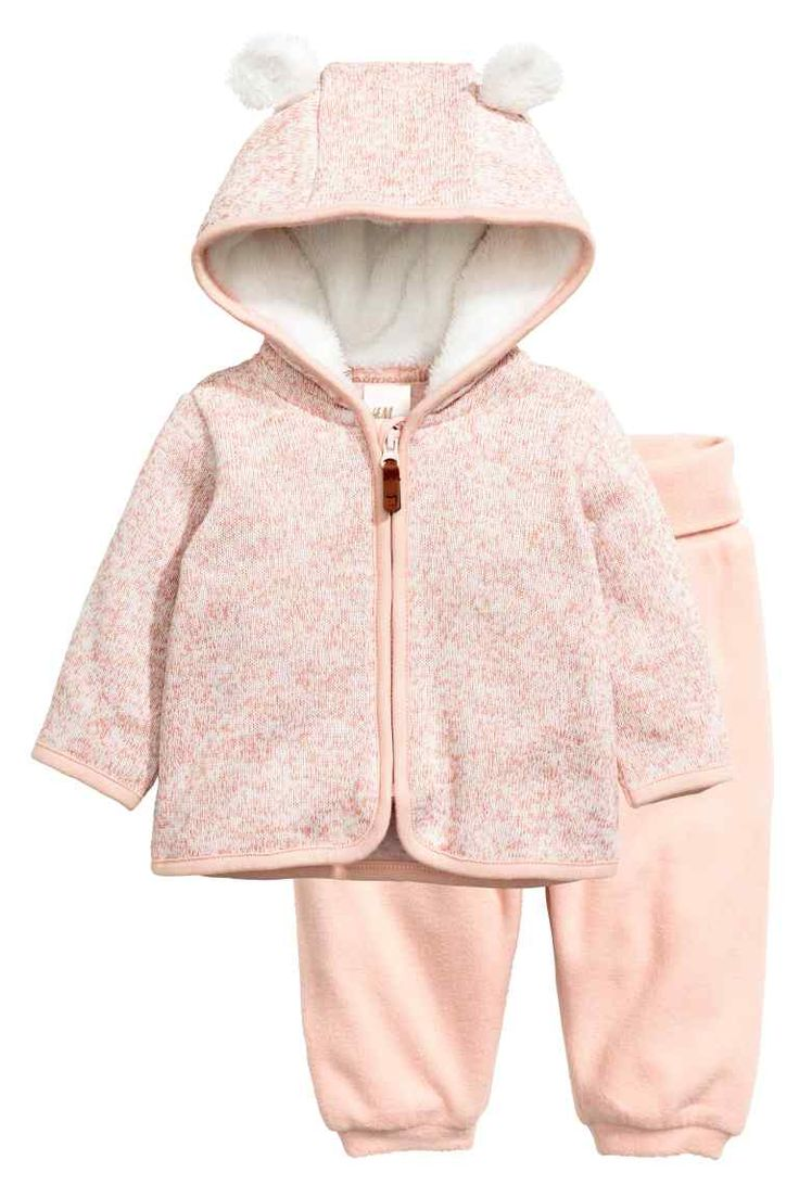 Fleece set: Fleece set with a hooded jacket and trousers. Jacket in marled…