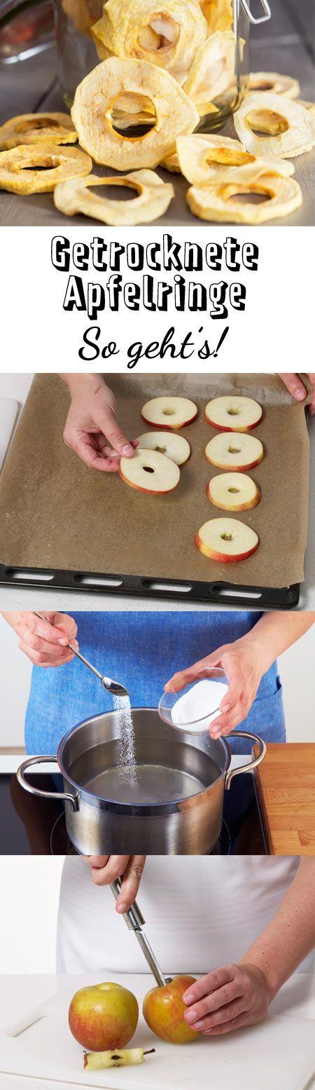 Als leichter Snack oder Deko auf Kuchen und Desserts: Getrocknete Apfelringe kannst du einfach selber machen. Getrocknete Apfelringe - so geht's!