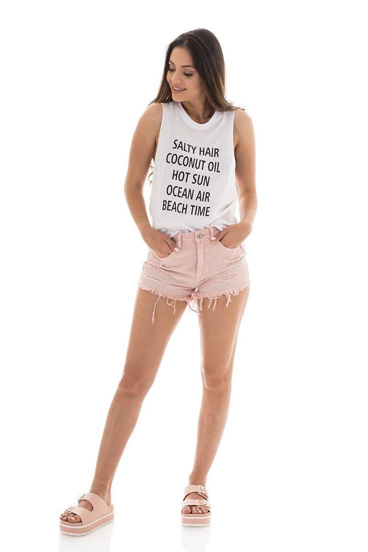 Sleeveless blouse with slogan. Round neck. 100% Cotton.  https://www.modaboom.com/t-shirt-salty-hair...html