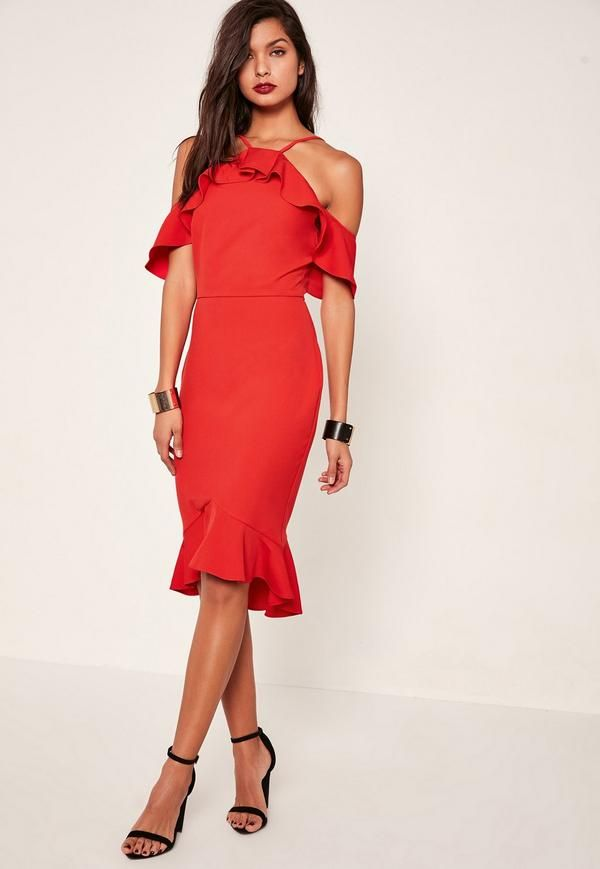 This dress has the emoji sign all over it! Add some flamenco fusion into your weekend game in this red dress with frill cold shoulder detail.