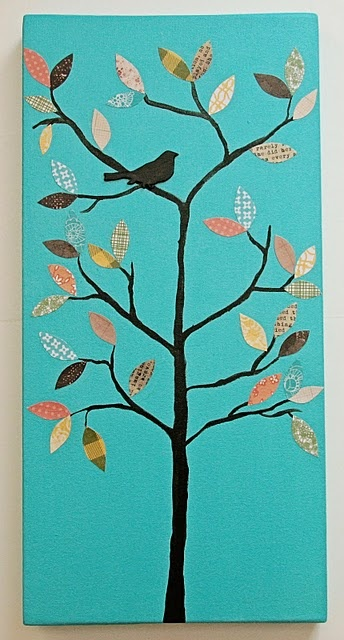 Paint the canvas then cut out leaves from scrap book paper then a clear glaze over would look nice... I'd prefer a different look tho more deep colors