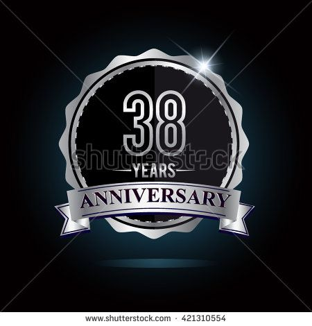 38th anniversary logo with ribbon. 38 years anniversary signs illustration. Silver anniversary logo with ribbon. - stock vector
