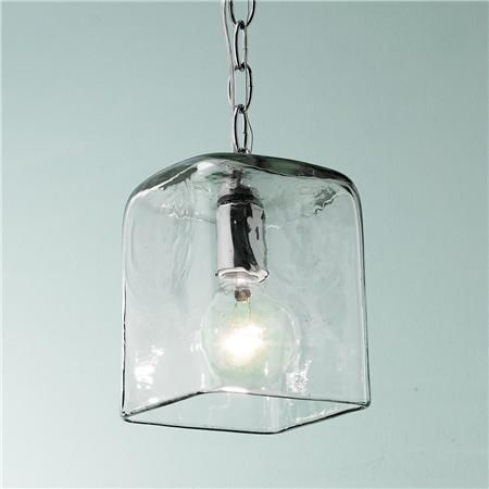 Small Square Glass Pendant Light Heavy recycled bottle glass keeps glare  down and adds just enough